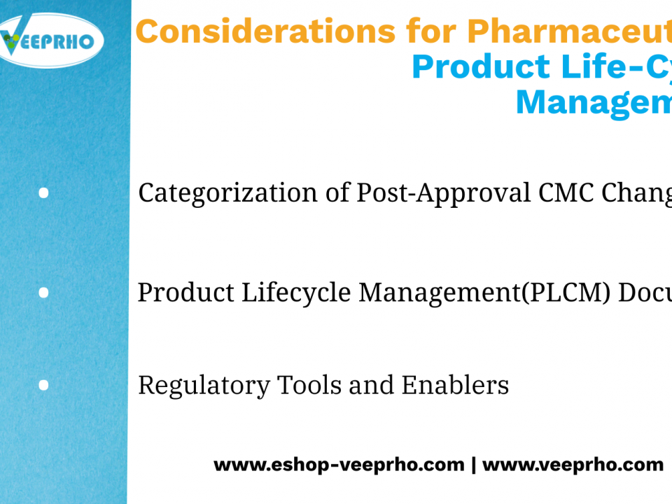 Considerations for pharmaceutical product lifecycle management